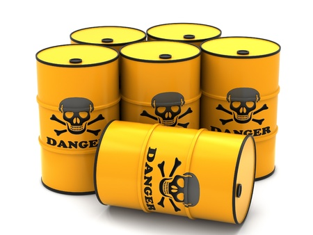 Barrels for storage of hazardous substances on a white background. Stock Photo - 12655317