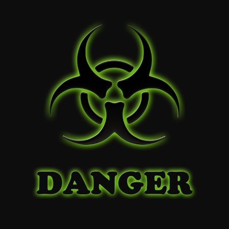 chemical hazard: The sign of biological hazards on a black background.