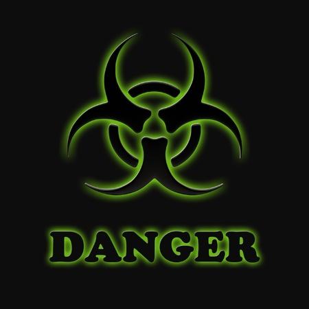 biological hazards: The sign of biological hazards on a black background.