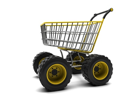 grocery cart: Shopping basket with big wheels on a white background
