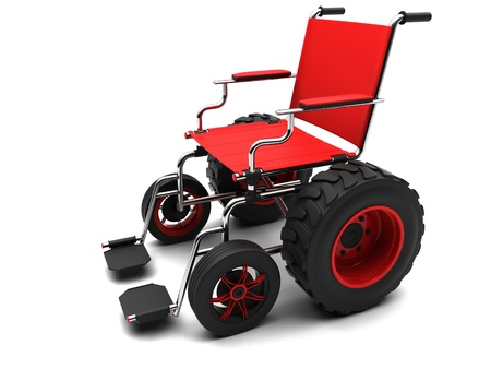 Wheelchair-terrain vehicle on a white background. photo