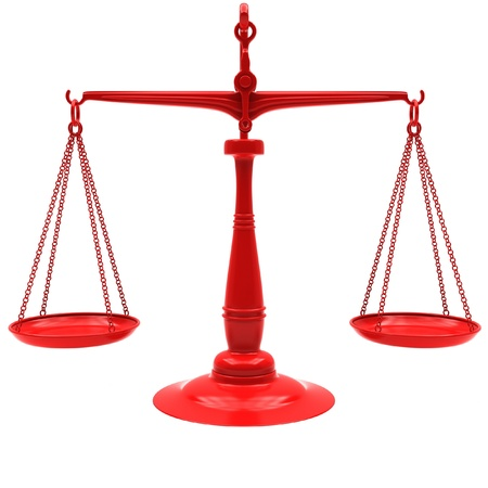 trial balance: Red scales on a white background. Stock Photo
