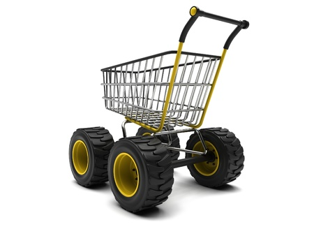 Shopping basket with big wheels on a white background photo