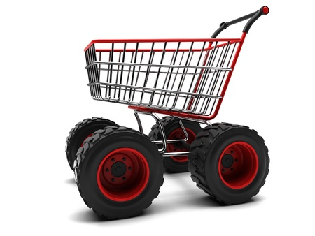 hypermarket: Shopping basket with big wheels on a white background