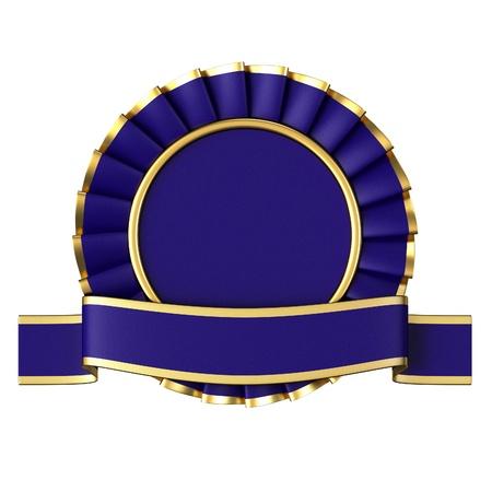Blue Ribbon Award isolated on white background. Stock Photo