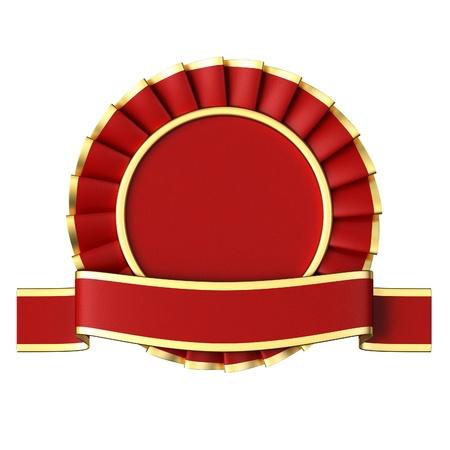 Red Ribbon Award isolated on white background.