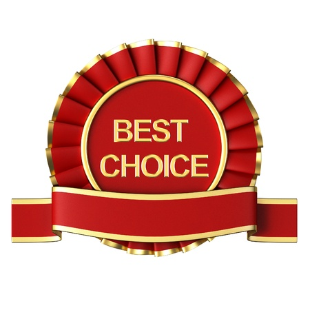 Red Ribbon Award labeled the best choice Stock Photo