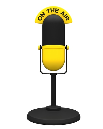 narrator: Vintage yellow microphone isolated on white background  Stock Photo
