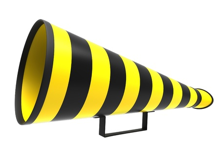 Retro megaphone in a yellow and black colors isolated on white background. photo