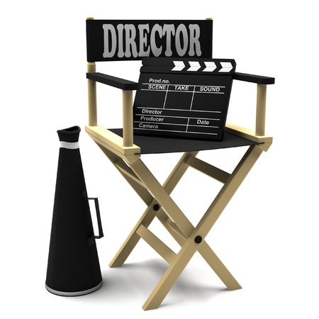 filmmaker: Chair director, movie clapper and a megaphone on white background. Stock Photo