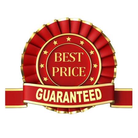 Best price. Ribbon award on a white background.