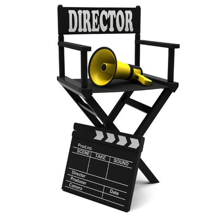 movie clapper: Chair director, movie clapper and a megaphone on white background. Stock Photo