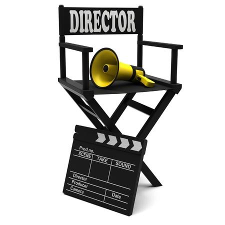 board of director: Sedia da regista, batacchio film e un megafono su sfondo bianco.
