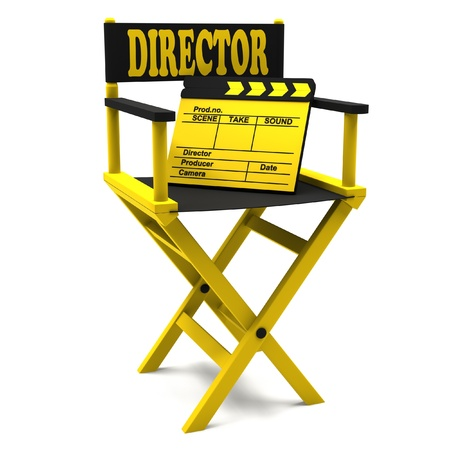 directors cut: Chair director and  movie clapper on white background. Stock Photo