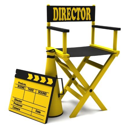 board of director: Sedia da regista, batacchio film e un megafono su sfondo bianco