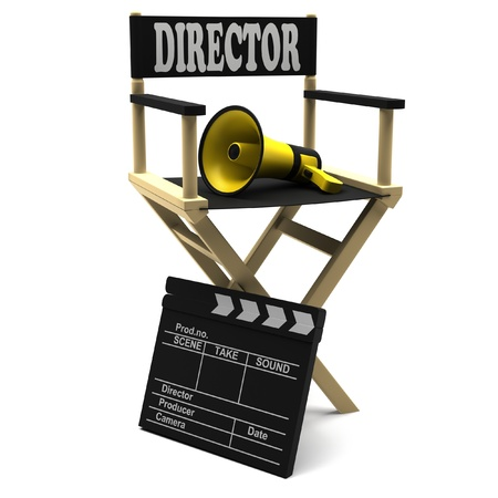 directors cut: Chair director, movie clapper and a megaphone on white background