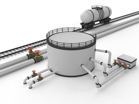 sustancias toxicas: El oleoducto y las instalaciones de almacenamiento en un fondo blanco.