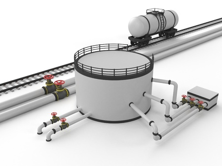 storage tanks: The pipeline and storage facility on a white background.