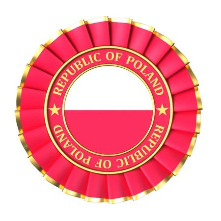 poland flag: Ribbon Award with the symbols of Republic of Poland