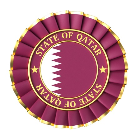 qatar: Ribbon Award with the symbols of state of Qatar Stock Photo