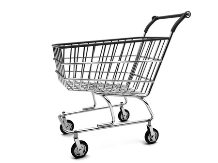 Silver shopping basket on a white background photo