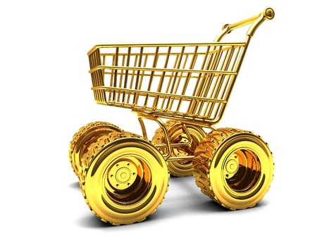 Gold shopping basket with big wheels on a white background