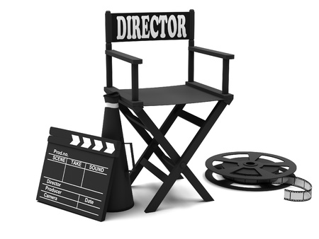 movie director: Film industry  directors chair with film strip and movie clapper