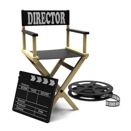 filmmaker: Film industry  directors chair with film strip and movie clapper