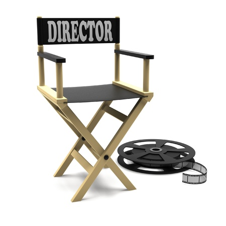 directors cut: Film industry  directors chair with film strip