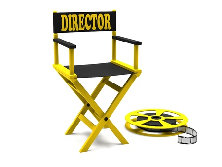 Film industry  directors chair with film strip