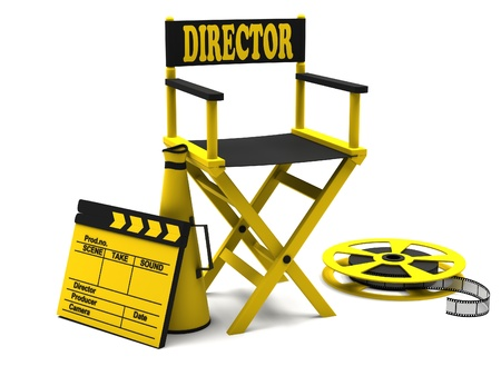 Film industry  directors chair with film strip and movie clapper