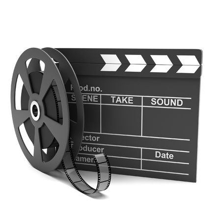 Movie clapper and film strip on a white background photo