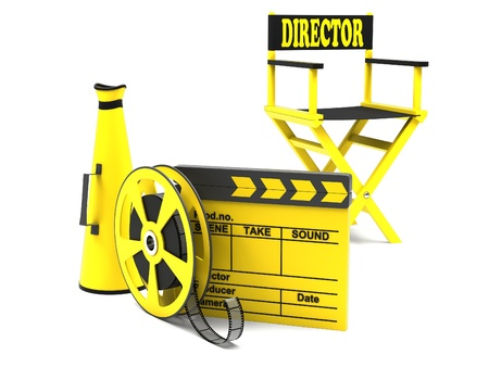director chair: Film industry  directors chair with film strip and movie clapper