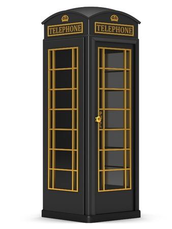 La cabina de tel�fono brit�nica negro sobre un fondo blanco Foto de archivo - 14831779