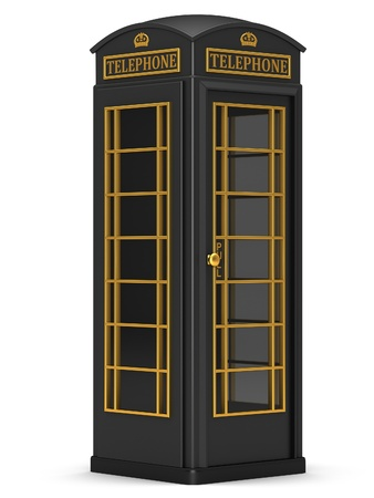 The British black phone booth on a white background photo