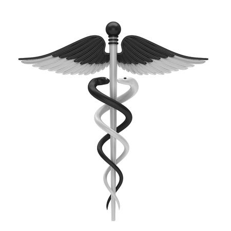 aesculapius: In bianco e nero caduceo simbolo medico isolato su uno sfondo bianco