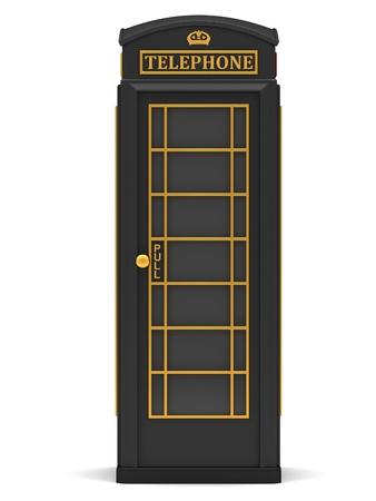 cabina telefonica: La cabina de teléfono británica negro aislado en un fondo blanco