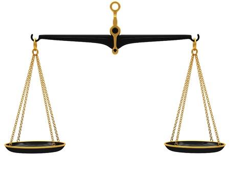 balanza en equilibrio: Escalas aisladas sobre fondo blanco Foto de archivo