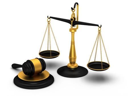 justice hammer: Justice scale and gavel Stock Photo