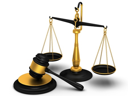 law scale: Justice scale and gavel Stock Photo