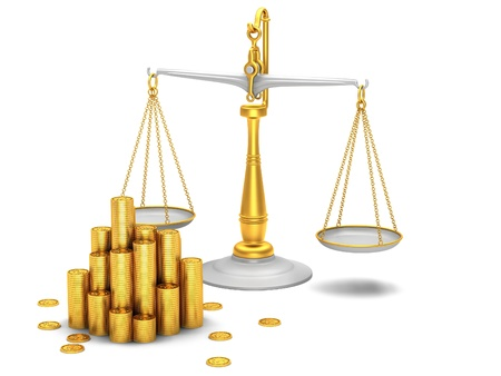 counterbalance: Gold coins and scales on white background Stock Photo