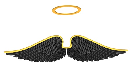 holy angel: Black angel wings isolated on a white background  Stock Photo