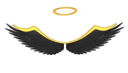 Black angel wings isolated on a white background  Stock Photo