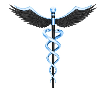 medical testing: Caduceus medical symbol isolated on a white background Stock Photo