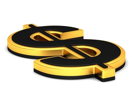investment concept: The gold dollar sign on a white background Stock Photo
