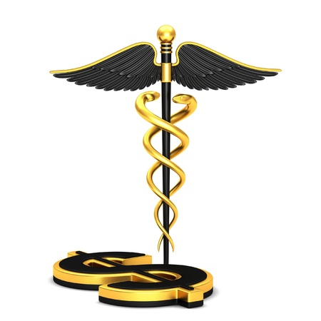 pharmacy symbol: Black caduceus medical symbol and dollar sign on a white background
