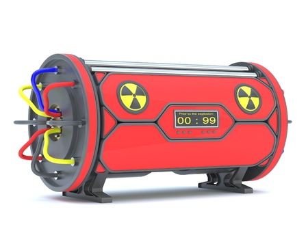nuclear bomb: Nuclear time bomb on a white background.