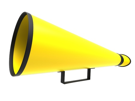 cheer: Retro megaphone in a yellow color