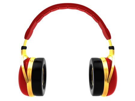 Red headphones Isolated on white background Stock Photo - 16525484