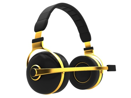 Headphones with microphone isolated on a white background.